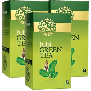 LaPlant Tulsi Green Tea - 75 Tea Bags (Pack of 3)