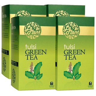 LaPlant Tulsi Green Tea - 100 Tea Bags (Pack of 4)