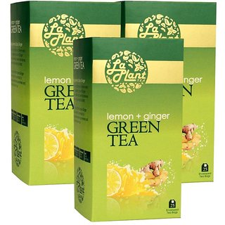 LaPlant Lemon and Ginger Green Tea - 75 Tea Bags (Pack of 3)