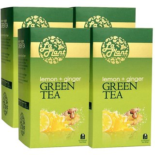 LaPlant Lemon  Ginger Green Tea - 100 Tea Bags (Pack of 4)