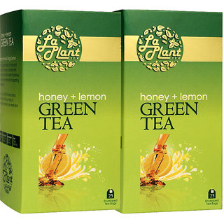 LaPlant Honey  Lemon Green Tea - 50 Tea Bags (Pack of 2)