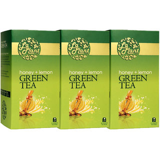 LaPlant Honey  Lemon Green Tea - 75 Tea Bags (Pack of 3)