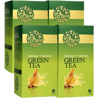 LaPlant Honey  Lemon Green Tea - 100 Tea Bags (Pack of 4)