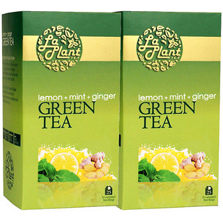 Laplant Lemon, Mint  Ginger Green Tea - 50 Tea Bags (Pack of 2)