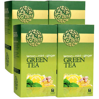 Laplant Lemon, Mint  Ginger Green Tea - 100 Tea Bags (Pack of 4)