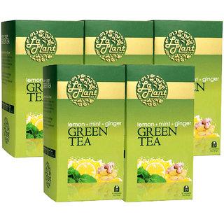 Laplant Lemon, Mint  Ginger Green Tea - 125 Tea Bags (Pack of 5)
