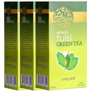 LaPlant Tulsi Green Tea, Long Leaf - 300 gm (Pack of 3)