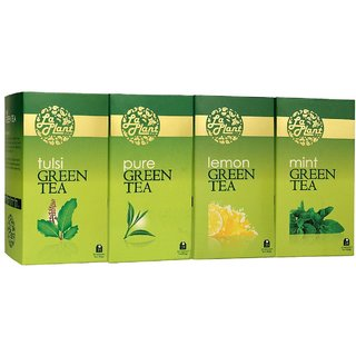 LaPlant Green Tea Combo II - 100 Tea Bags (Pack of 4 Pure, Lemon, Tulsi  Mint)