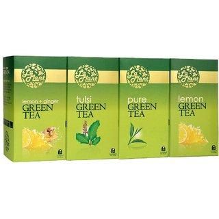 LaPlant Green Tea Combo III - 100 Tea Bags (Pack of 4 Pure, Lemon, Tulsi  Lemon-Ginger)