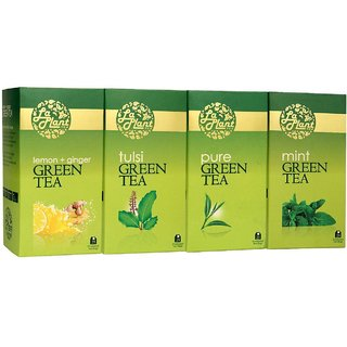 LaPlant Green Tea Combo V - 100 Tea Bags (Pack of 4 Pure, Tulsi, Mint  Lemon-Ginger)