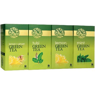 LaPlant Green Tea Combo VI - 100 Tea Bags (Pack of 4 Lemon, Tulsi, Mint  Lemon-Ginger)