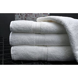 P Home Decor Bath Towels (White) Set of 2