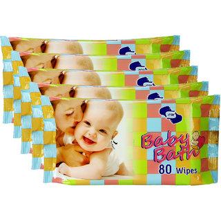 BABY BATH- Baby Wipes pkt of 80 wipes x 5