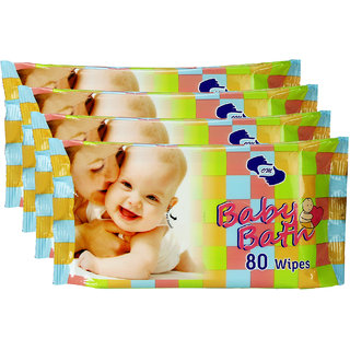 BABY BATH- Baby Wipes pkt of 80 wipes x 4