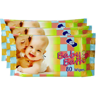 BABY BATH- Baby Wipes pkt of 80 wipes X 3