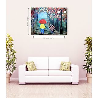 Alone In Garden With Red Ambrella Romantic Canvas Painting
