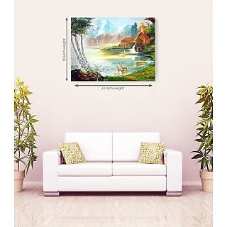 Beautiful House River In Deer Romantic Canvas Painting