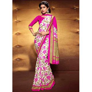 Vastrani Multicolor Silk Printed Saree With Blouse