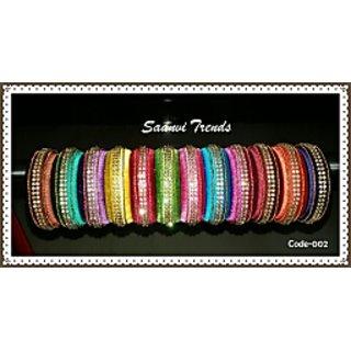 Silk thread single kada stone bangles ST002