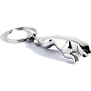 Classy Jaguar Metallic Keychain Chrome Plated Silver Keyring