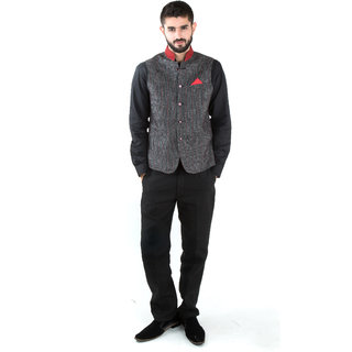Jahanpanah Ban Collar Party wear Mens Waistcoat With Shirt  Trouser - (Gray)