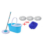 Magic Mop Blue,White Microfibre 360 Degree Rotation Steel Mop With Free 2 Head Refill And 1 Glove