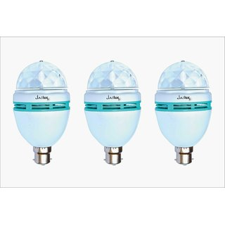 JaiLux LED 3W Decorative Multi Coloured Bulb, B22 Base, Pack of 3, Multi Colours (Red, Green, Blue)
