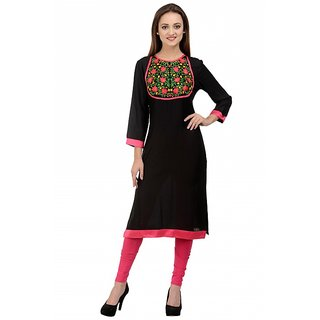 Rumara Straight viscose Embroidered Black Round Neck Casual Kurti for Women