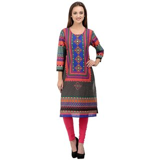 Rumara Straight Cotton Printed Round Neck Casual Kurti for Women
