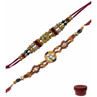 Laviva ROB14715 Flawless Beauty of Fancy Beads  Stone Rakhi Set of 2