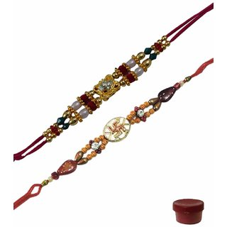 Laviva ROB14723 Flawless Beauty of Fancy Beads  Swastik Design Rakhi Set of 2