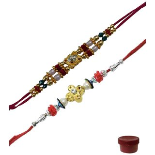 Laviva ROB14725 Flawless Beauty of Fancy Beads Rakhi Set of 2