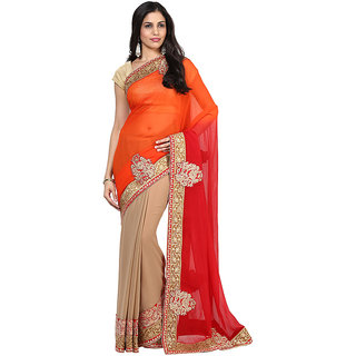 Multihued Faux Chiffon And Faux Georgette Saree