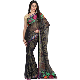 Navy Blue Faux Chiffon With Embroidered Motifs