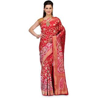 Maroon Banarasi Handloom Katan Silk Saree