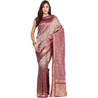 Violet Banarasi Katan Silk Saree With Zari Work