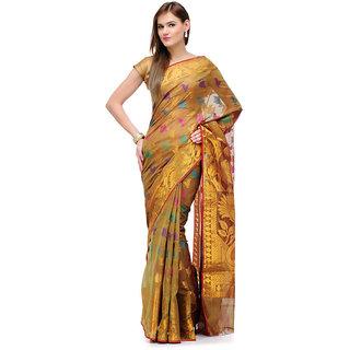 Light Green Banarasi Cotton Silk Saree