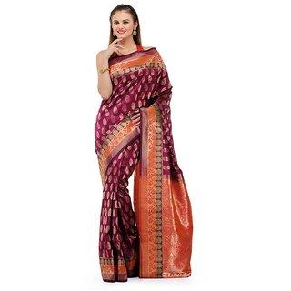 Purple Zari Woven Art Silk Saree