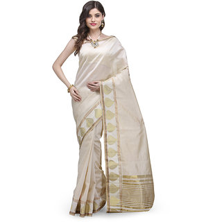 Splendid Off-White Art Silk Saree With Zari Border