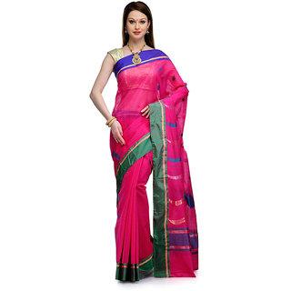 Magenta Cotton Chanderi Saree with Resham Weave Pallu