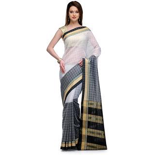 White  Black Cotton Chanderi Half  Half Saree