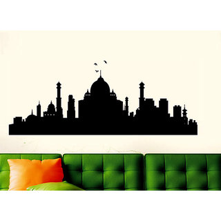 Wall Dreams Taj Mahal Silhouette In Black Wall Sticker/Decals (6945)
