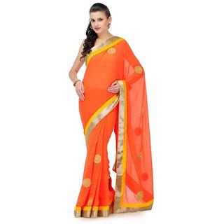 Orange Faux Chiffon Saree