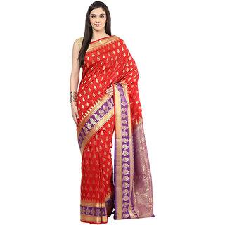 Vermilion Red Art Silk Saree With Zari Work