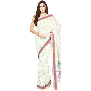 Off White Cotton Saree With Resham Work