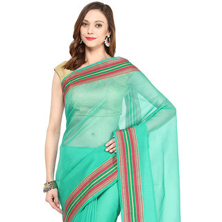 Emerald Green Banarasi Supernet Saree With Zari Work