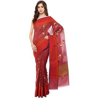 Maroon Banarasi Chanderi Cotton Saree With Zari Work