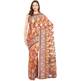 Peach Banarasi Kora Saree With Resham Work
