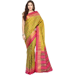 Olive Green Rajkot Patola Handloom Silk Saree