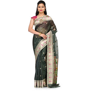 Green Linen Silk Banarasi Saree with all over Zari work